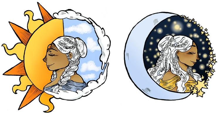 moon sun - illustration - norathebean | ello