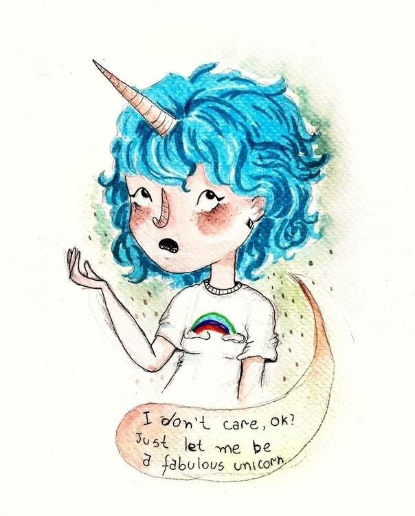 Unicorn girl/2016 - illustration - gabrielamolinaro | ello