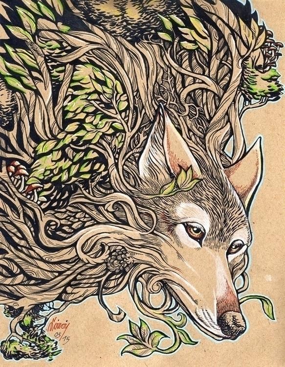 Dog Mountain - Honshu Wolf - illustration - saralutra-9852 | ello