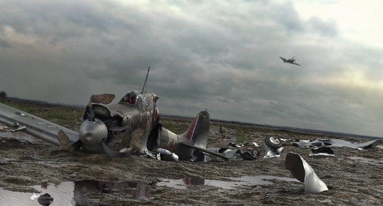 Spitfire crash - illustration, 3d - remytrapp | ello