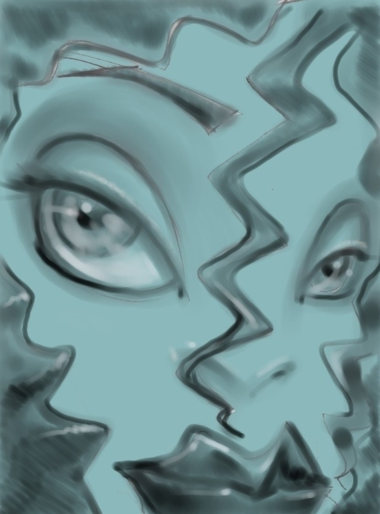 face digital paint - painting, characterdesign - thedog | ello