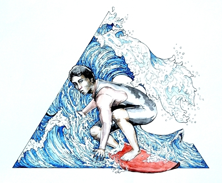 Surfin - illustration, drawing, watercolor - ricksipamungkas | ello
