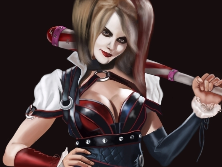 harley quinn - illustration, painting - jortiz-9644 | ello