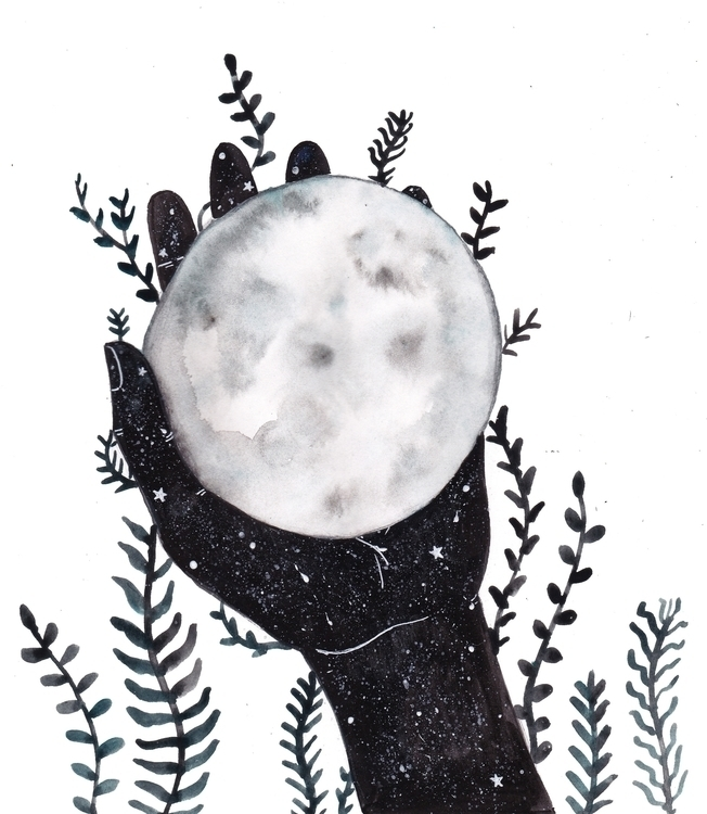 Moon - illustration, drawing, ink - valeriazaccheddu | ello
