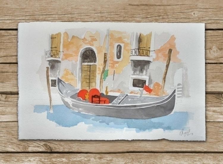 Watercolor venetian Gondola. go - ariautas | ello