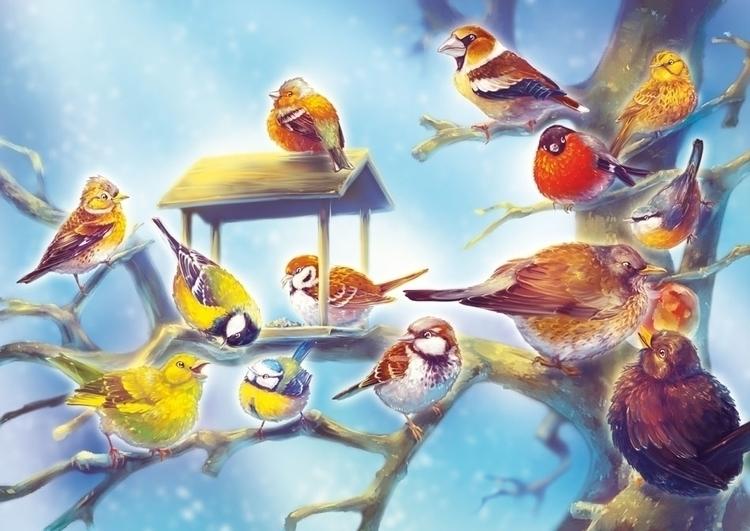 Birds Winter - birds, cute, cartoon - fany-1032 | ello