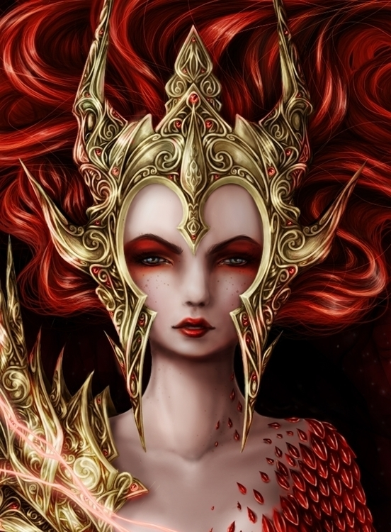Red witch - illustration, characterdesign - tenenbris   ello