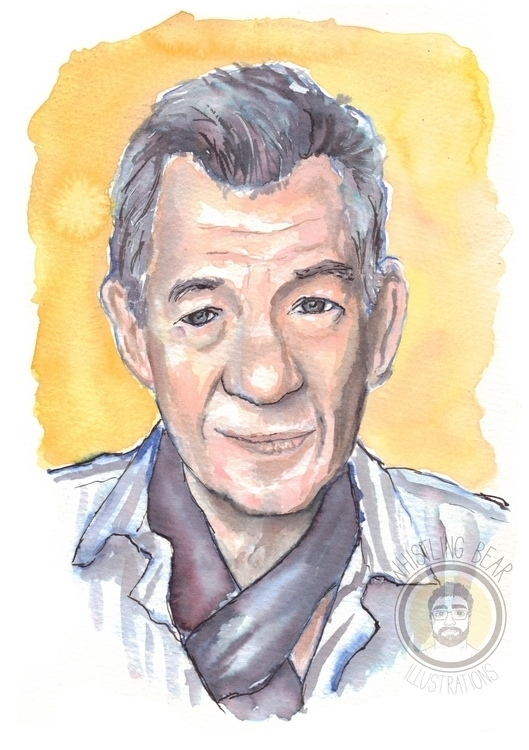 Ian McKellen fan piece watercol - whistlingbear   ello