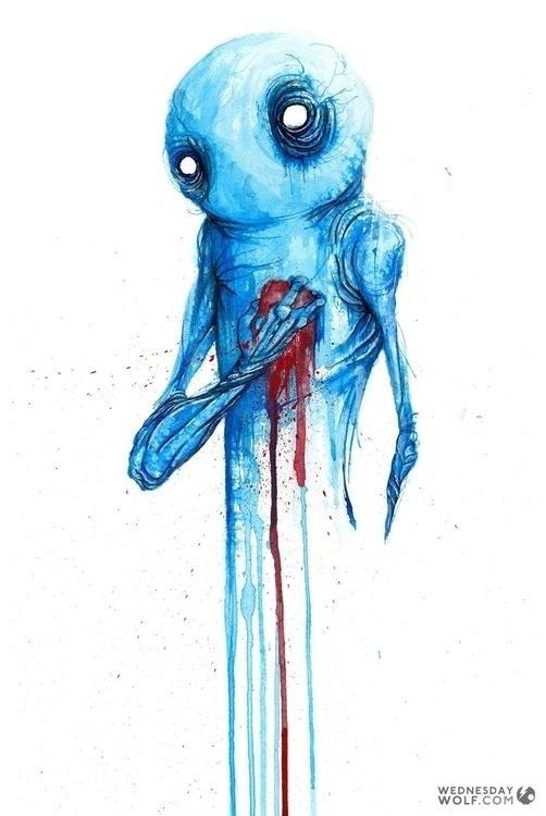 Hurt - painting, illustration, watercolor - wednesdaywolf-9030 | ello