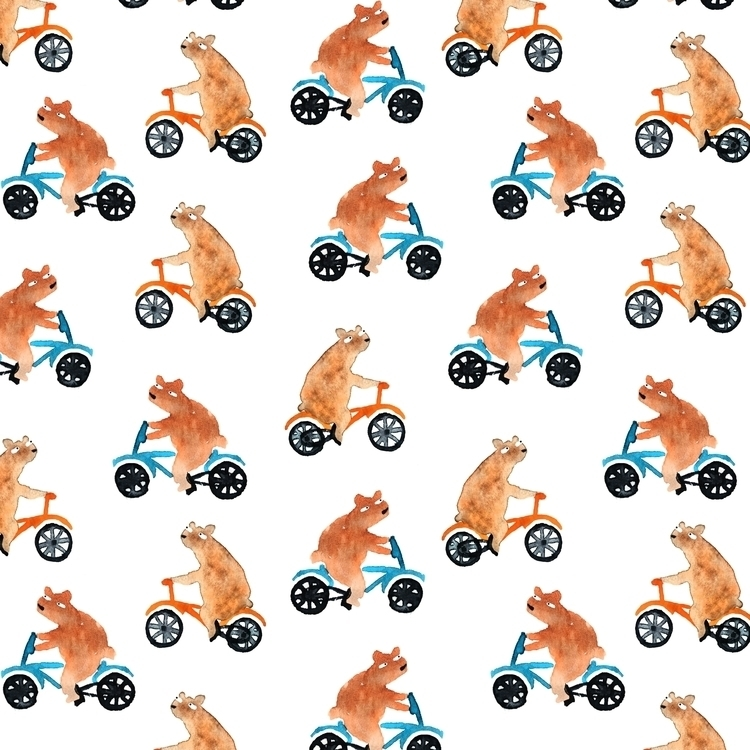 Bears bicycles - bear, pattern, aquarelle - prianikn | ello