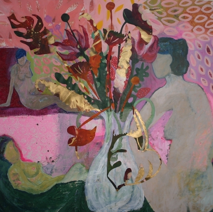 Flowerpower, acrylic collage ca - jacquelinevanderplaat | ello