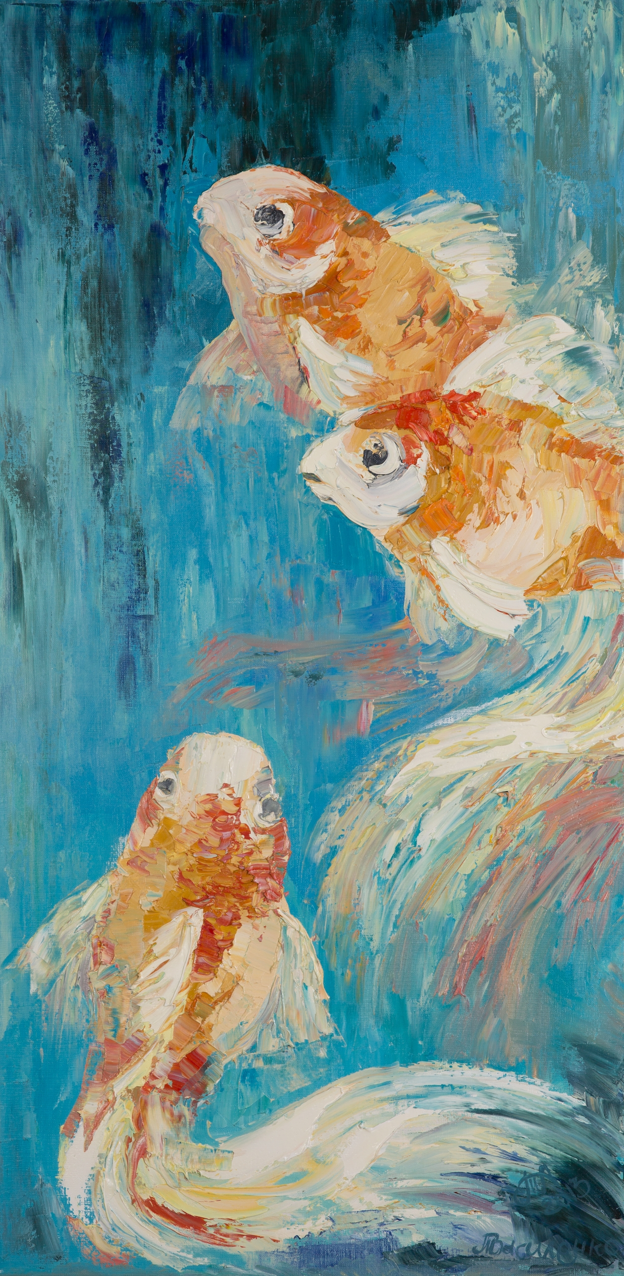 Golden fish 100x50 Oil canvas.  - tanya_vasilenko | ello