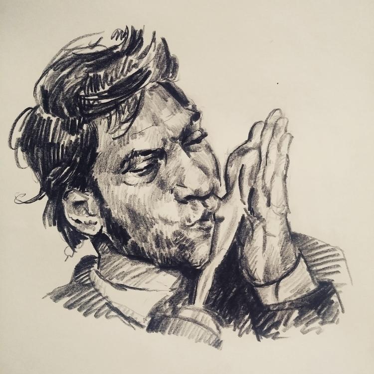 Javier Bardem - portrait, pencil - prianikn   ello