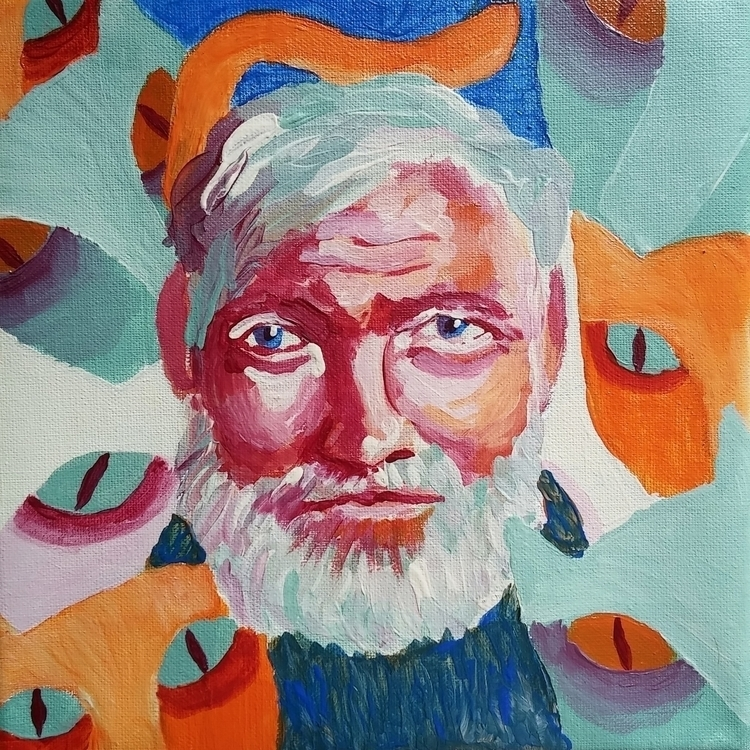 Ernest Hemingway cats - acrylic - prianikn | ello