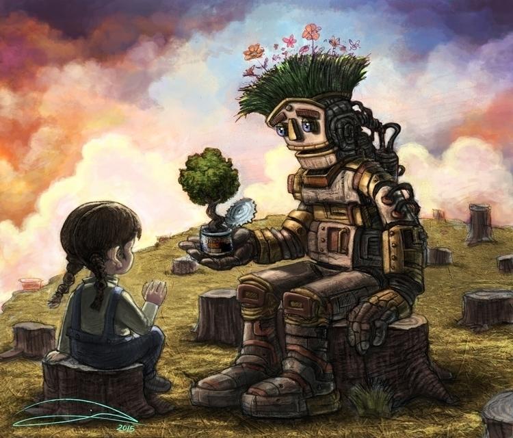 illustration, robot, trees, deforestation - baruchinbar | ello