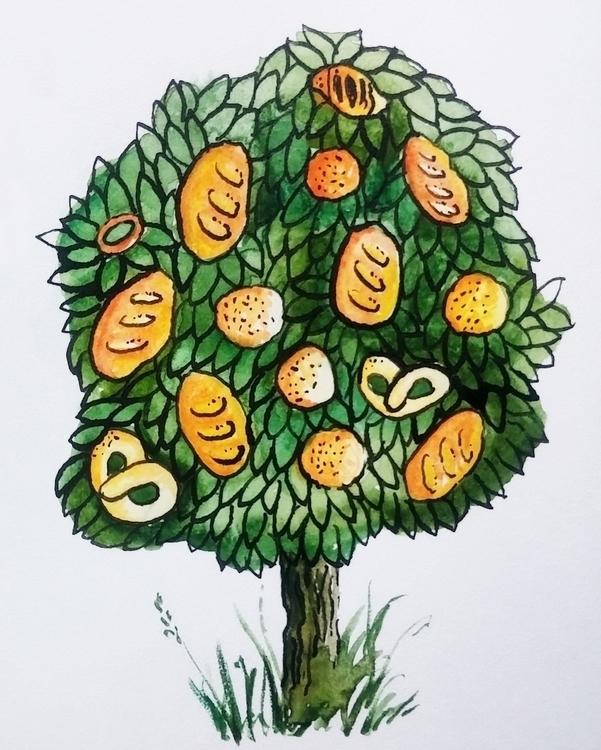 tree - bread, buns, aquarelle, ink - prianikn | ello