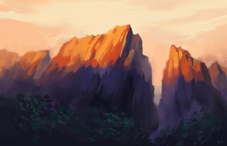 Mountain light - illustration, sunset - nicolexu-8498 | ello