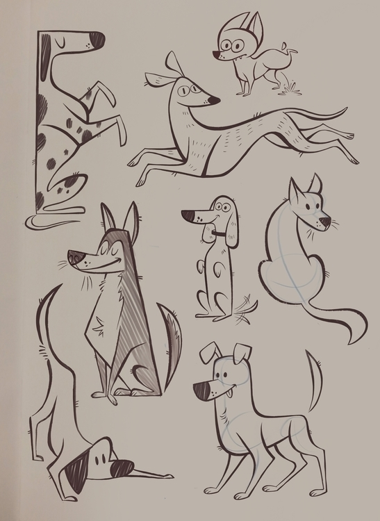 Dog sketches - dogs, doodle, characterdesign - ashleyodell | ello