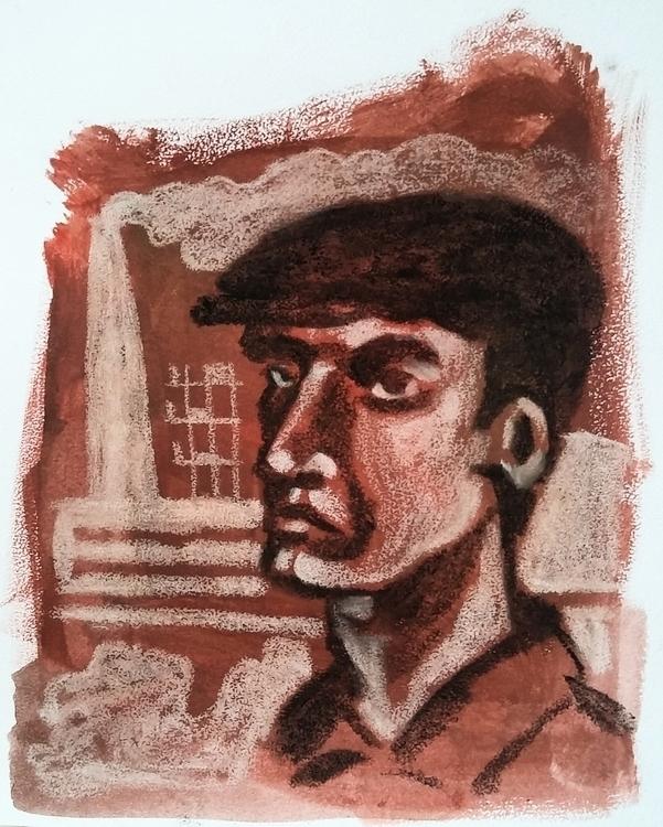 Worker - chalk, coal, gouache, portrait - prianikn | ello