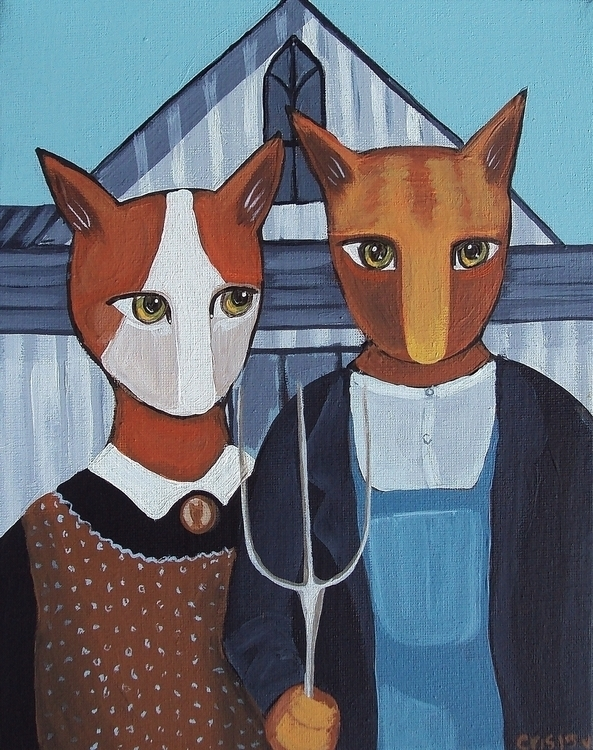 American Gothic Cats - americangothic - cristinegreen | ello