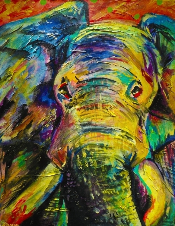 Cage Acrylic Canvas 28 22 - Elephant - simonraskina | ello
