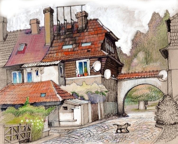 Hust, Czech town - illustration - popovichenko | ello