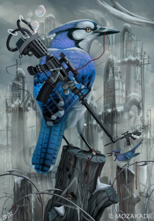 Industrial Blue - bluejay, bird - mozakade | ello