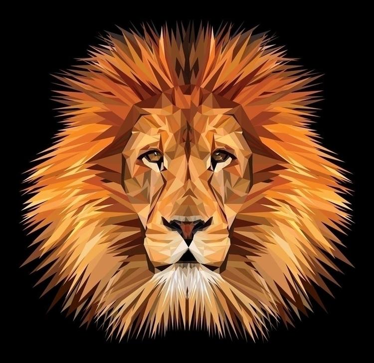 King Jungle - lion, polygon, triangles - amparocortes | ello