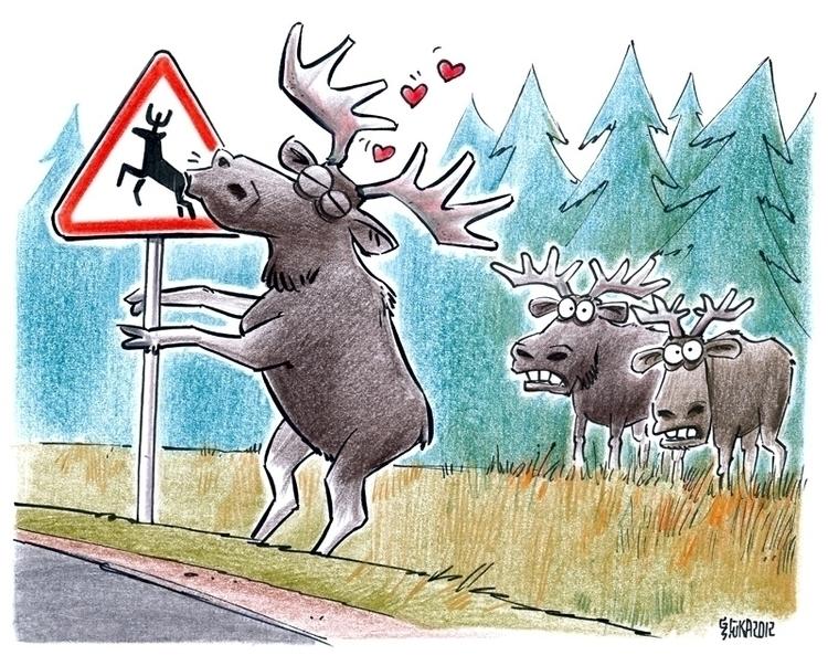 elk, love, sign, road, forest - gatissluka | ello