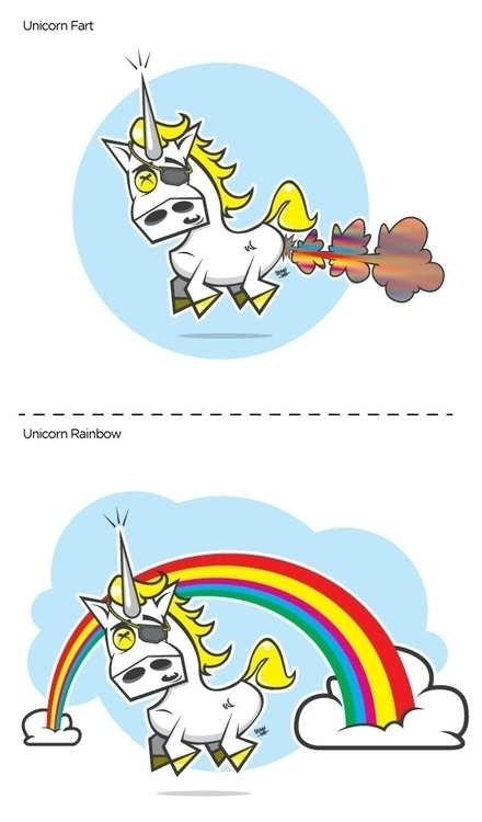 Unicorn Fart Rainbow - illustration - inkedsloth | ello