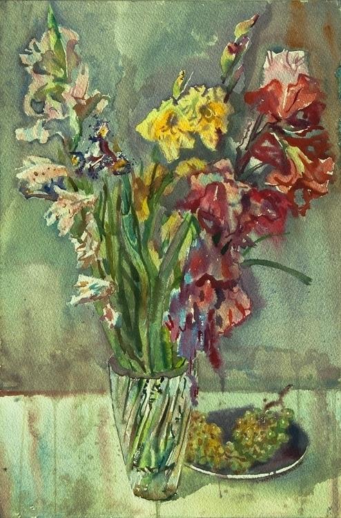 flowers, food, grapes, watercolor - naktisart | ello