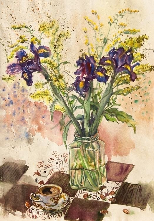 flowers, irises, food, coffee - naktisart | ello