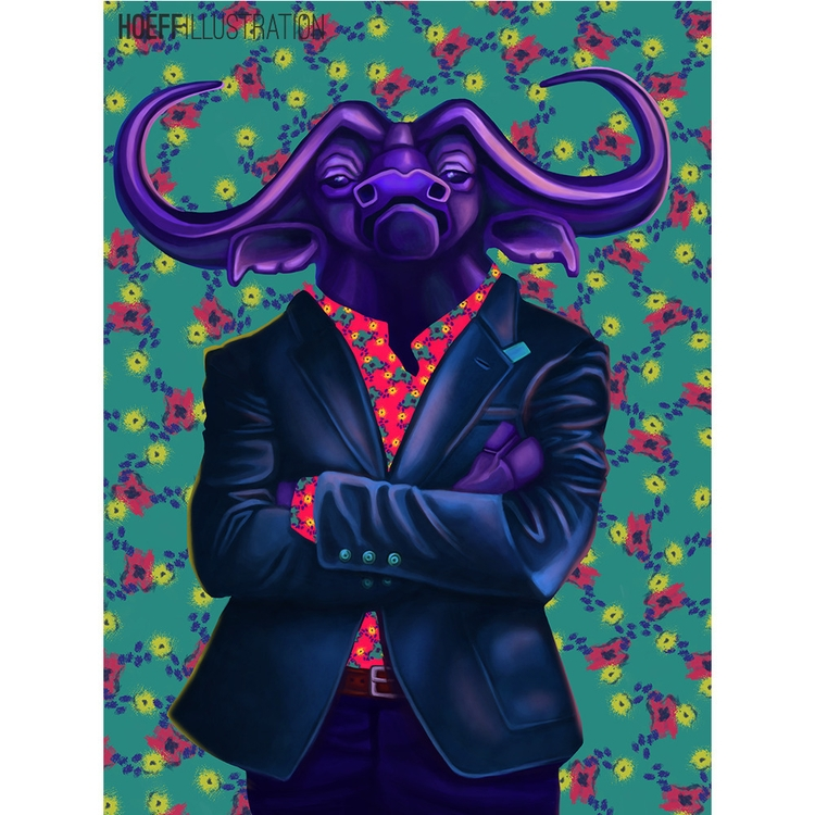 Cape Buffalo = Straight Boss - illustration - alexhoeffner-7715 | ello