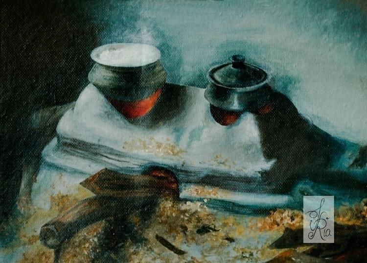 Mud Stove - mud, painting, fire - fariafiroz26 | ello