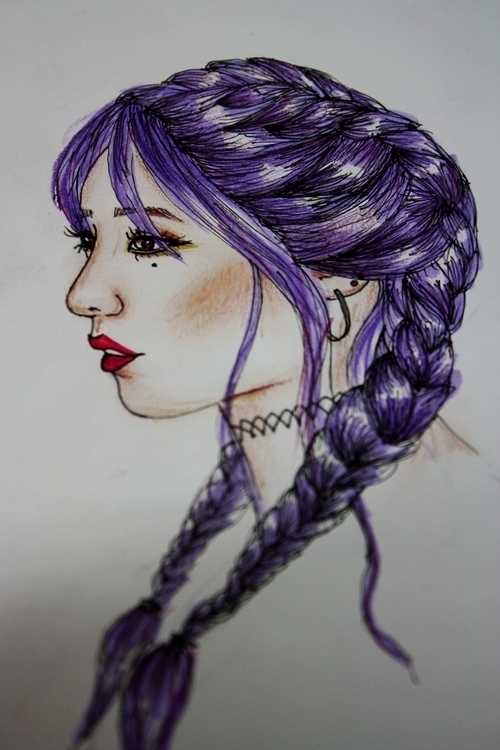 braid drawing, purple, Hyuna - braids - kaitlynsmith | ello