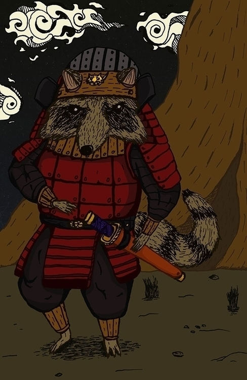 Samuracoon - illustration, characterdesign - bananabits   ello