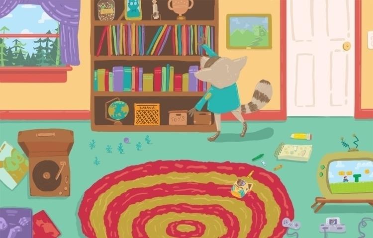 day indoors - raccoon, illustration - cjwords | ello