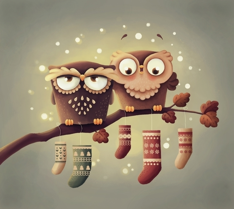 Owls - owls, christmas - tamara-2805 | ello
