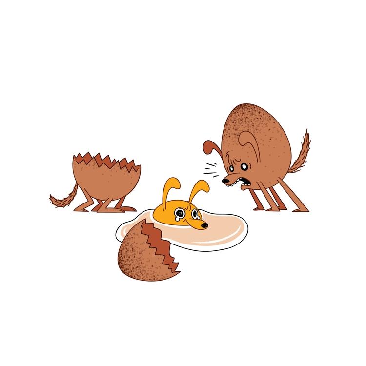 Egg - food, dog, illustration - kaseythegolden | ello