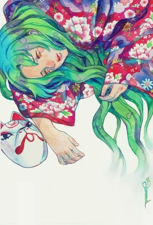 Botanical Lady - watercolor, illustration - frany-4039   ello