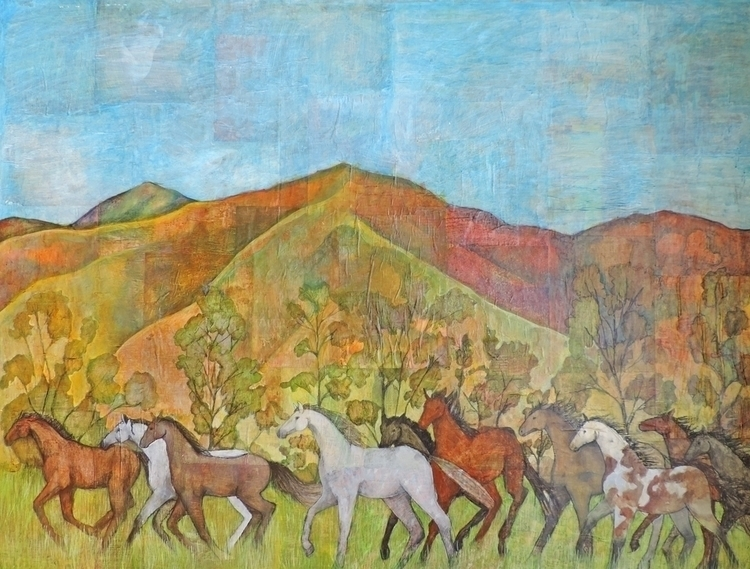 Horses Galloping, acrylic colla - sabrinajill | ello