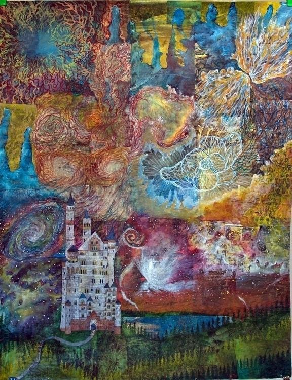 Aurora, acrylic collage, 48x60 - sabrinajill | ello