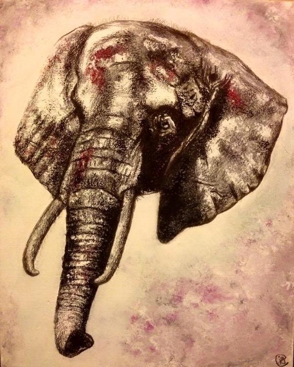 Elephant Acrylic charcoal - elephant - juliagurevich | ello