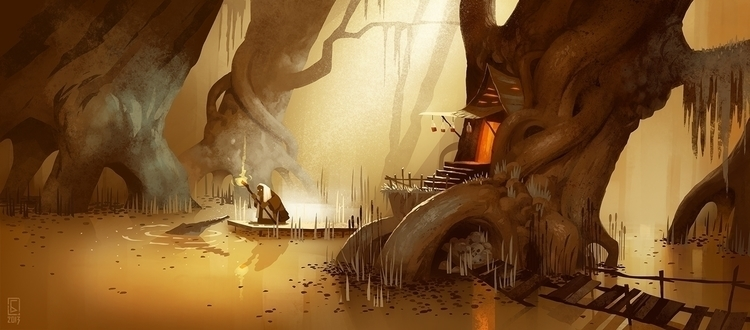 Swamp witch - swamp, aligator, treehouse - boris_bakliza | ello