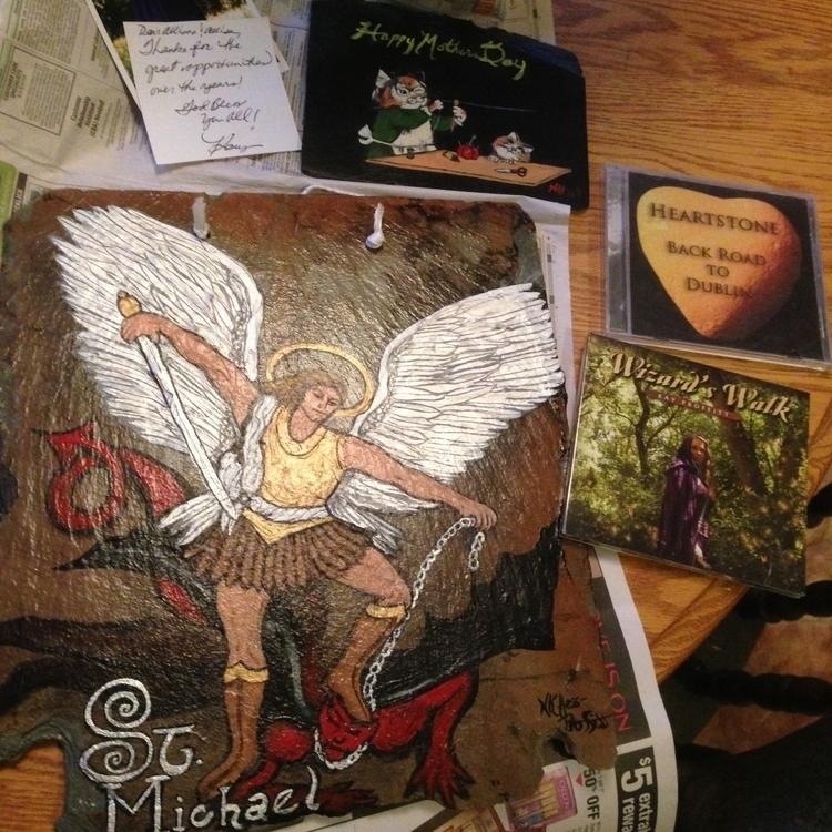 Saint Michael Archangel - #stmichael#archangel#acrylicon#slate - kpowell-1395 | ello