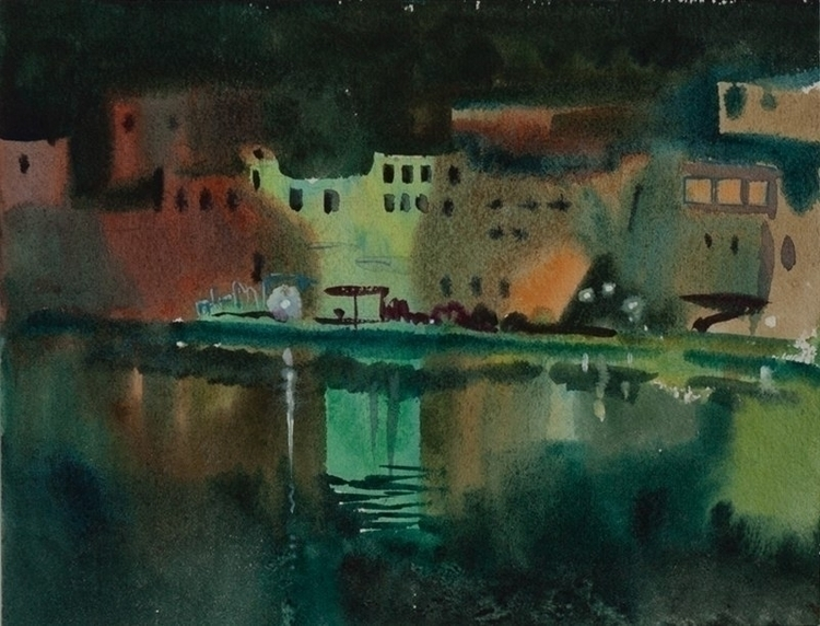 night, watercolor, watercolour - naktisart | ello