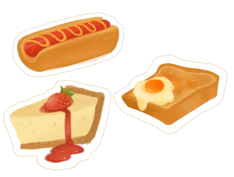 foodie sticker designs - food, illustration - yormgen | ello