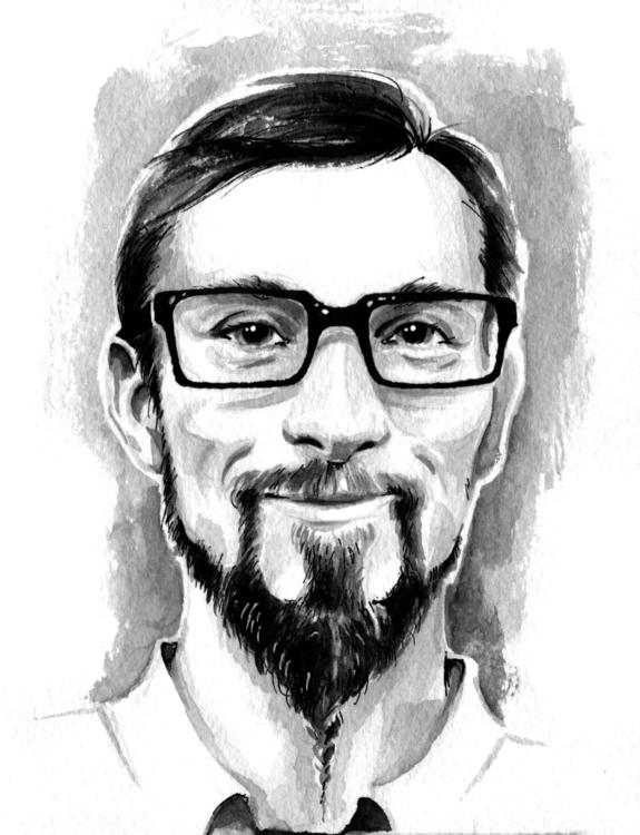 portrait, ink, penink, drawing - annagosteva | ello
