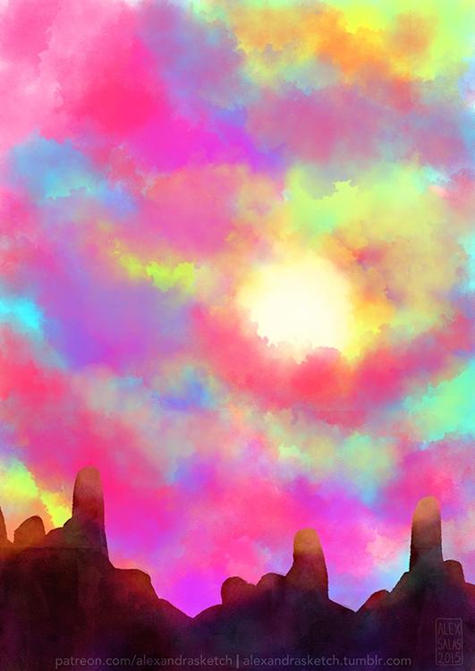 sky, clouds, mountains, speedpainting - alexandrasketch | ello