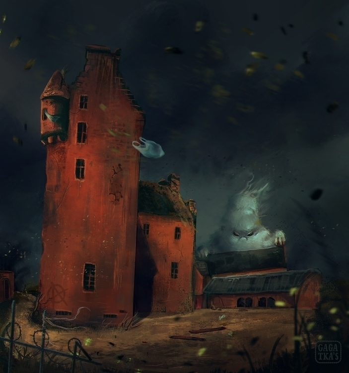 Sad, lonely haunted house - illustration - gagatka | ello